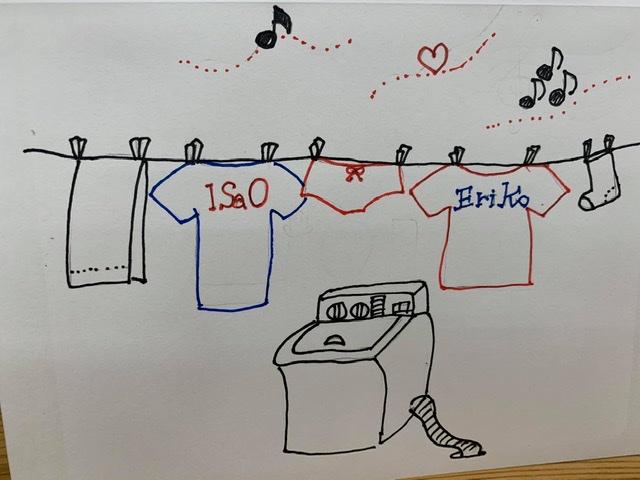 """洗濯物は・・・洗濯機がしてるんだよ""""(-""""""""-)"""""""
